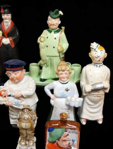 10: Lot of 7 Figurative Decanters/Schafer Vater