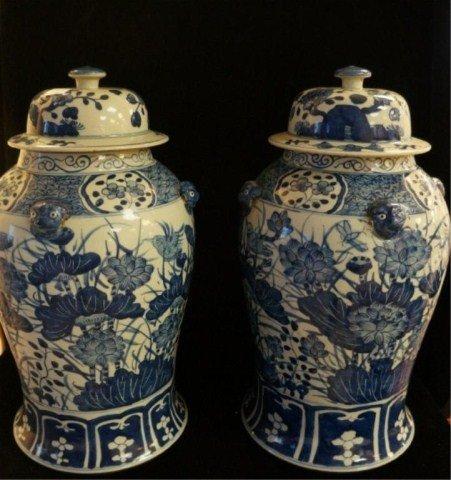 138: Pair 19c Blue & White Jars