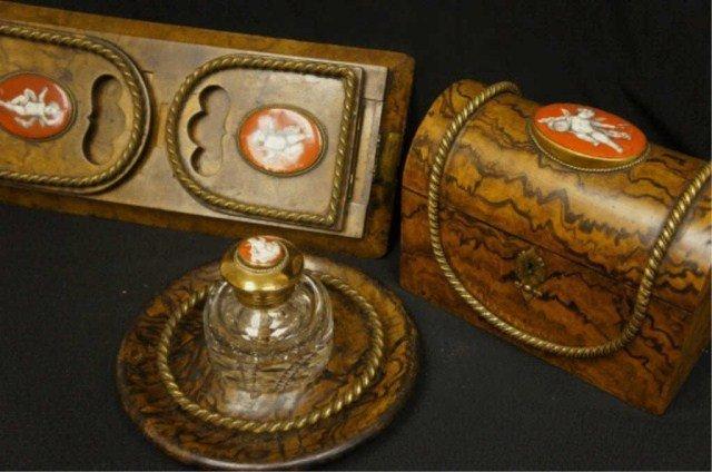1: French  Burlwood & Porcelain Inset Desk Set