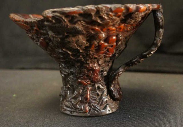 7: Fancy Ornate Oriental  Carved Horn Cup