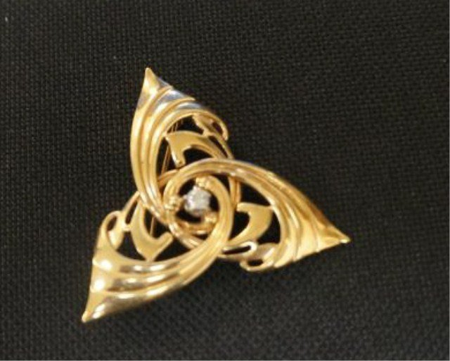 8: 14k Gold Triangle Pin with Diamond Accents