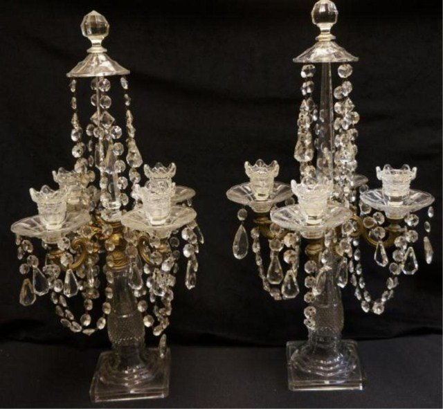 17: Pair of Crystal & Prisms Console Candelabras