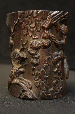 20: Carved Zitan Brush Pot