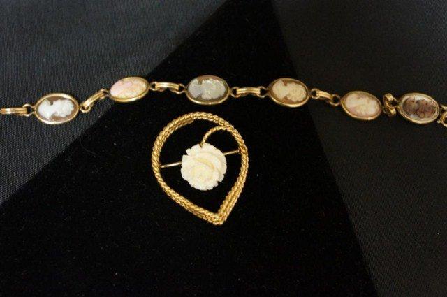 22: Gold Filled Cameo Bracelet & Brooch