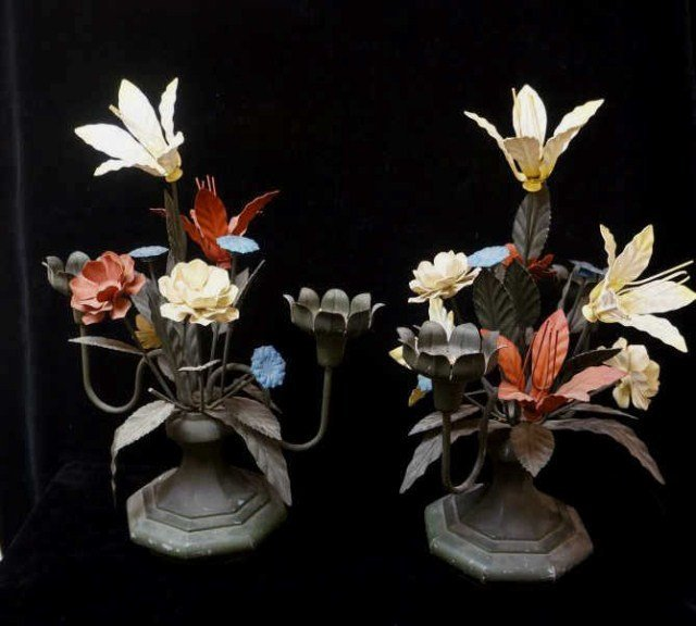 Pair of Cast Metal Flowers