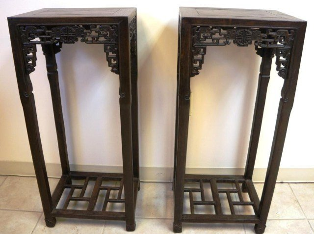 Pair of Carved Zitan Wood Stands