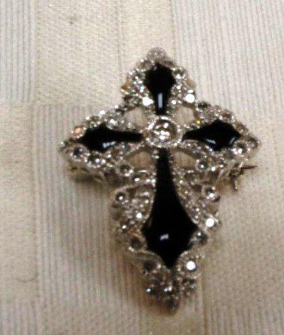 14K Gold Onyx and Diamond Pendant