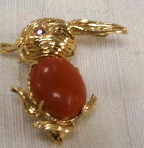 14K Gold Bunny Pin with Ruby Eyes