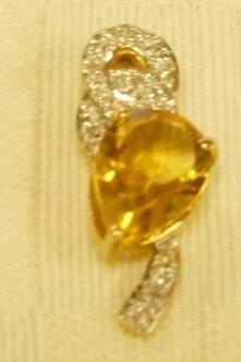 14K Diamond and Citrine Pendant