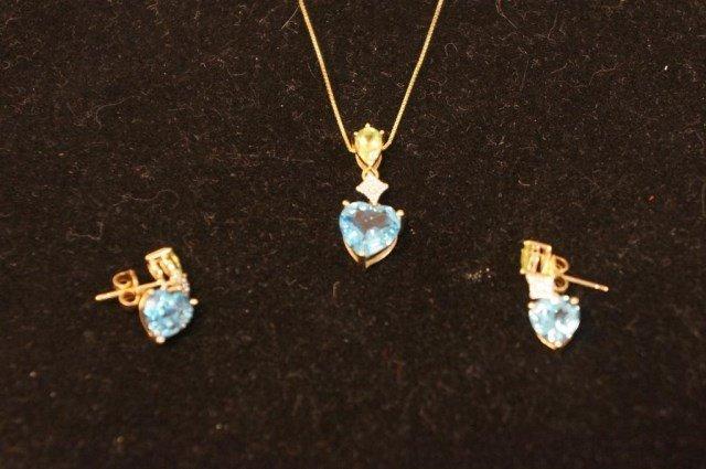 10K Blue Topaz with Peridot and Diamond Pendant