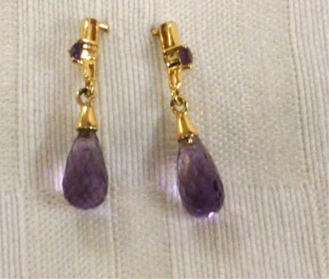 Pair of 10K Gold and Amethyst Earrings