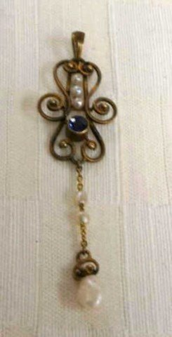 Vintage 14K Gold Pendant with Pearl and Sapphire