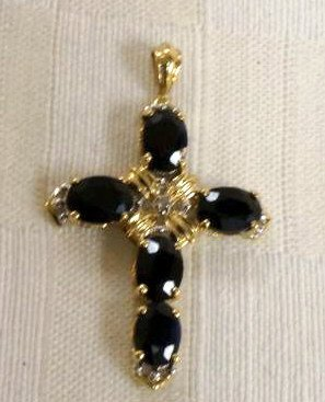 10K Gold Cross with Sapphire and Diamonds