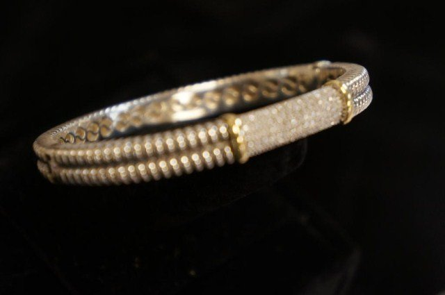 14K Gold and Sterling Silver Bracelet with Diamond