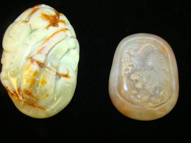 Lot of 2 Carved Asian Stones