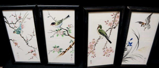 Set of Four Season Porcelain Plaques