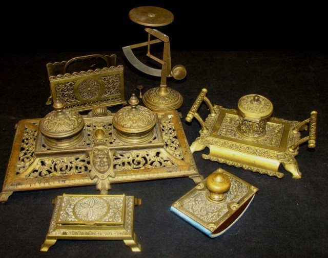 5 Piece Victorian  Repousse Brass Desk Set