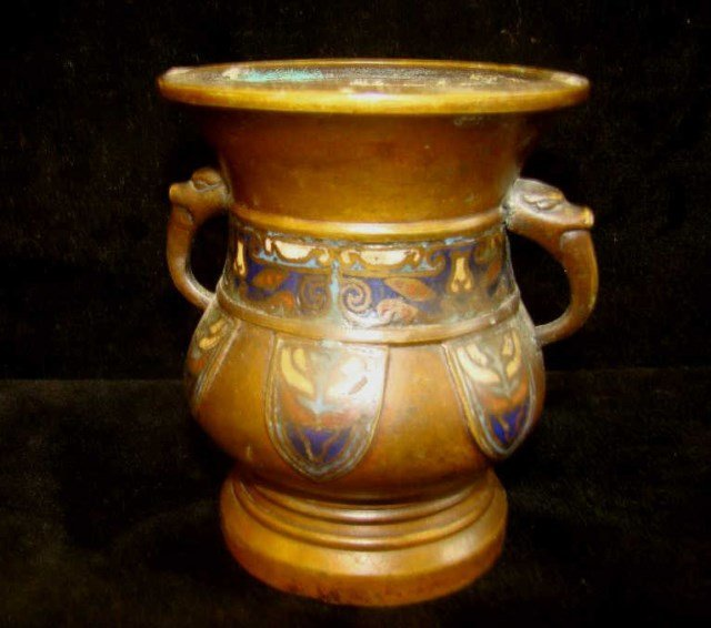 Bronze and Champeleve Vase