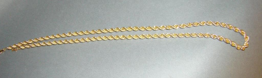 14k Gold Rope Necklace 24""