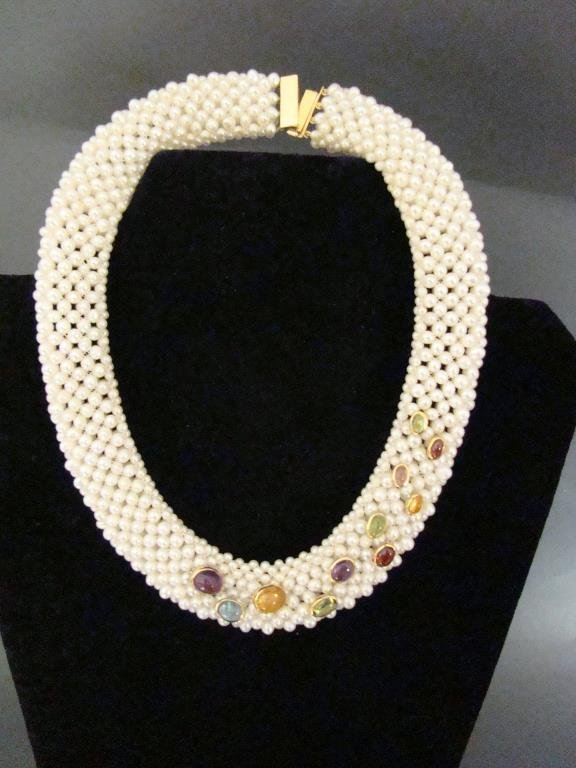 18k Gold and Fresh Water Pearl Necklace