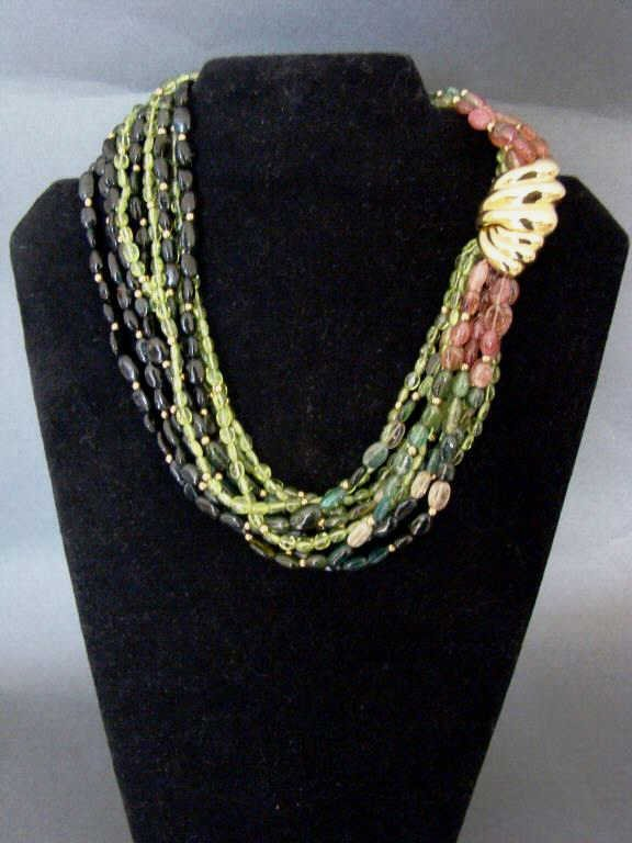 14k Gold and Multi Color Tourmaline Necklace