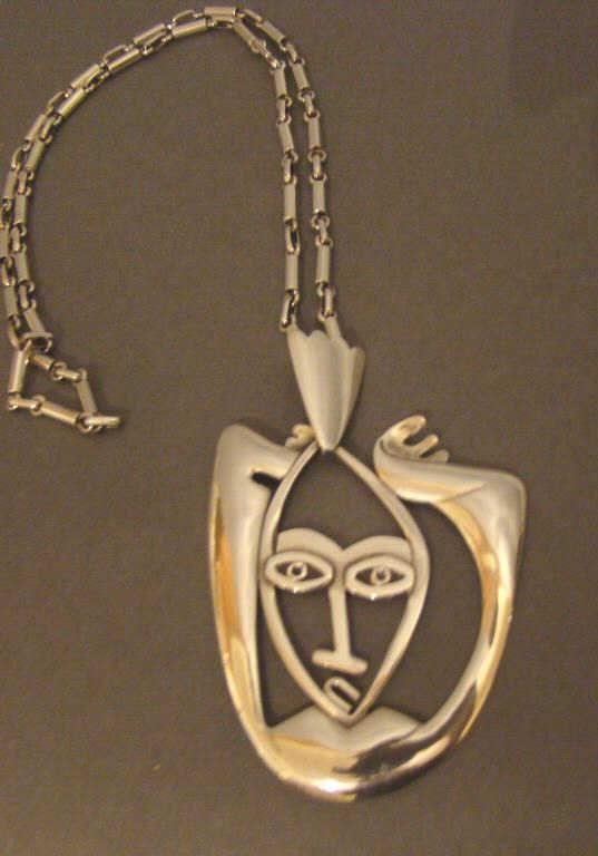 Taxco Mexican Silver Figural Necklace