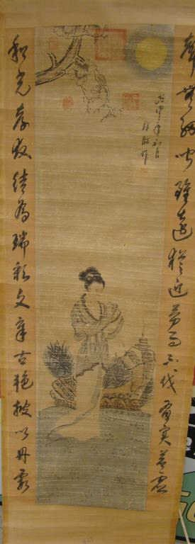 Oriental Scroll with Asian Lady