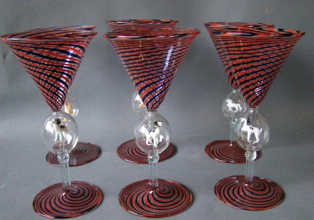 Set of 6  /Austrian Bimini   Wine Stems