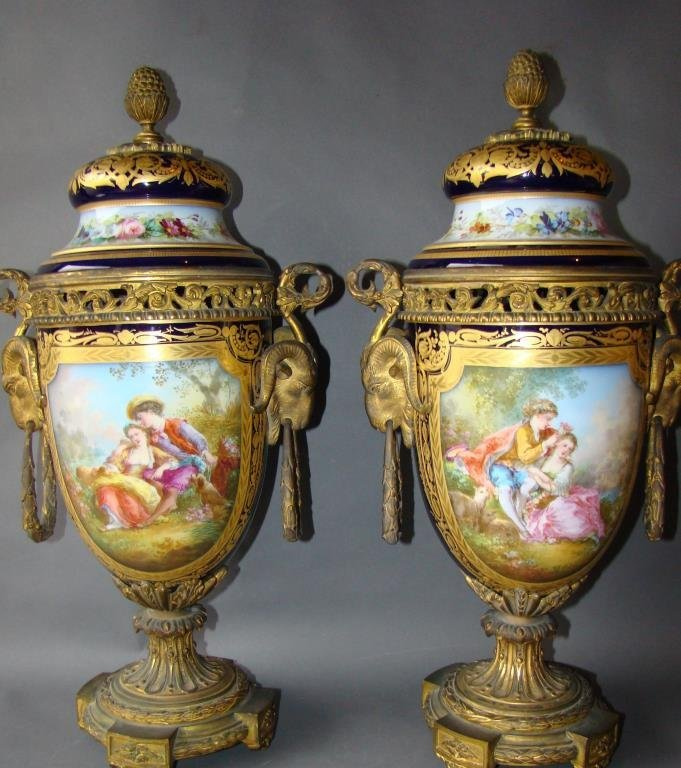 Pair of 19c French Sevres Urns