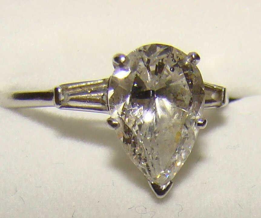 2 Carat Platinum Diamond Ring and Finger Mate