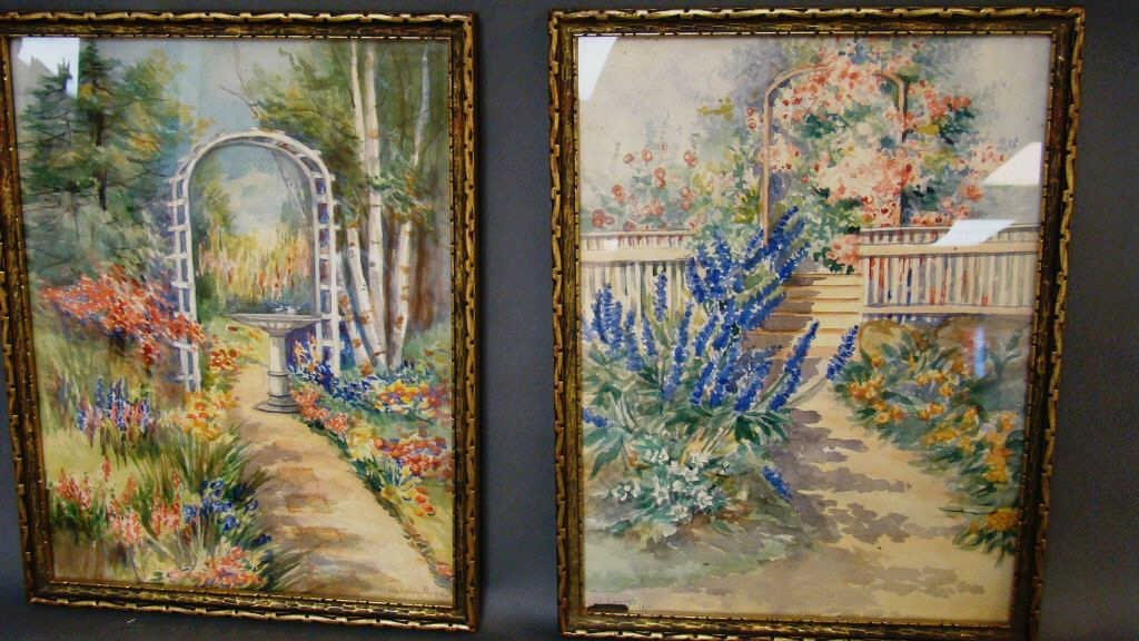 Pair of Framed Watercolors, Ida Lipton Smith