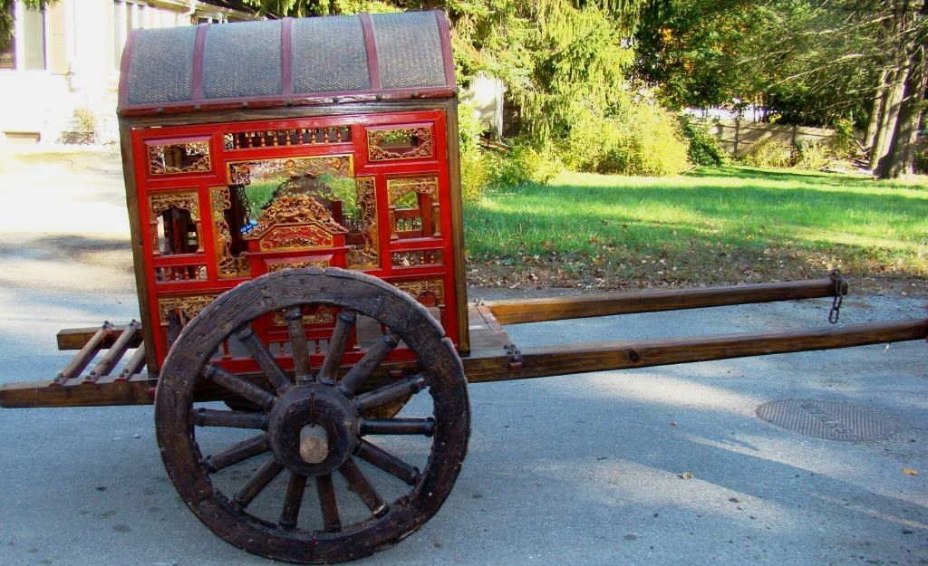 Life-size Ornate Wood Carved  Rickshaw