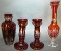 4 Bohemian Glass Ruby Candlesticks
