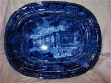 Large Blue and White Staffordshire Platter