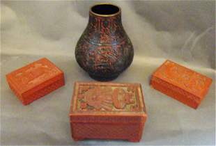 4 Pieces of Chinese Lacquer