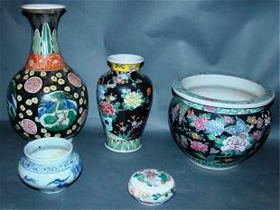 5 Chinese Famille Rose and Porcelain Items