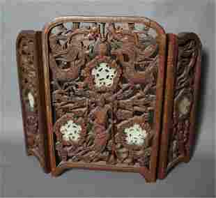 Carved Teakwood Table Screen