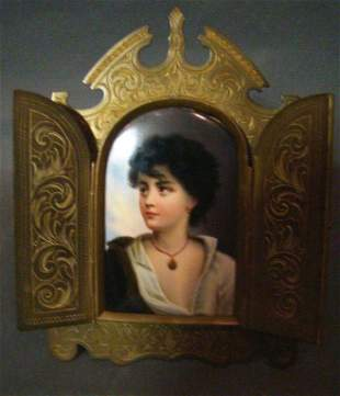 Painting On Porcelain Mounted in Bronze Frame