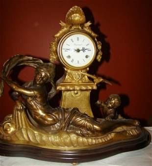 French F Moreau Bronze Spelter Clock