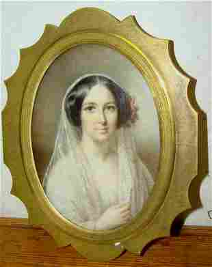 Antique Painting on Ivory of a Lady