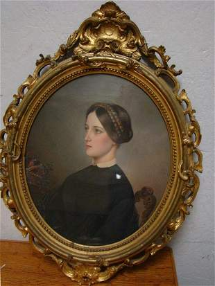 Ornate Giltwood Framed Watercolor of a Lady