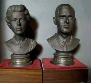 Lot of 2 Antique Royal Doulton Black Basalt Busts