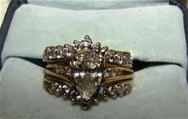 14k Pear Shape Diamond Engagement Set