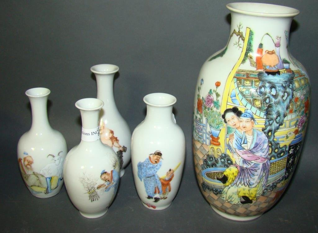 Lot of 5 Chinese Vases