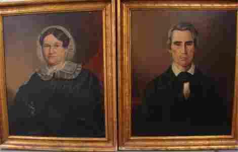 Pair of  O/B Primitive Folk Art Portraits