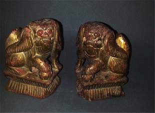 Pair 19thc Wooden Foo Dogs With Original Finish