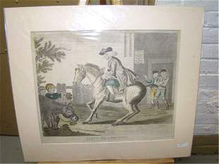 Copperplate Engraving A Taylor Riding to Brentford