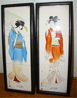 Pair of Hand Painted Geishas on Tiles