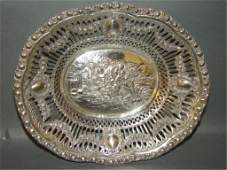 European Silver Reticulated and Pierced Tray