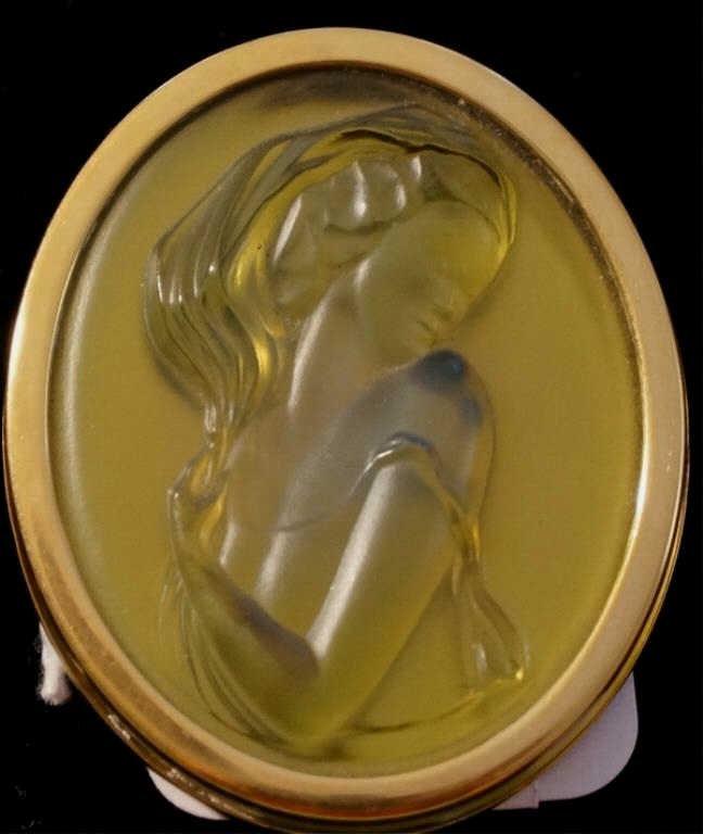 Lalique Opal Green Opalescent  Glass  Brooch